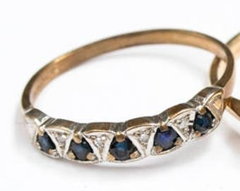 Vintage Ring -  Sapphire and Diamond Band Ring, 9ct Gold Ring, size O (UK) 7 (USA)