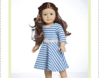 Pixie Faire Bonjour Teaspoon Taylor Regatta Dress Doll Clothes Pattern for 18 inch American Girl Dolls - PDF