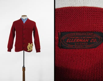 Vintage 1950s NC State Cardigan Red Wool Letterman Sweater Ellerman Co - Small