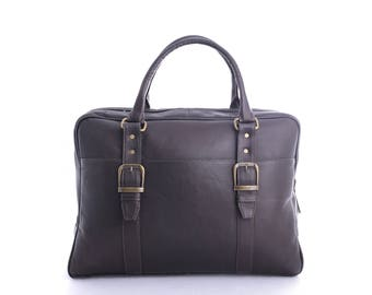 Genuine Vaquetta Brown or Tan Leather Overnight Bag, Laptop Bag, Hand crafted in Colombia