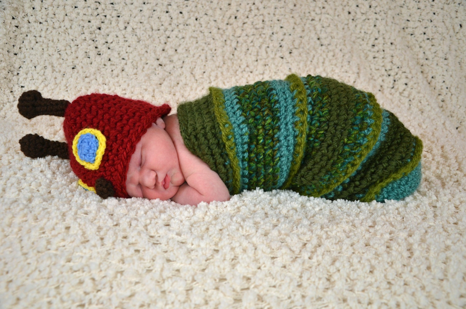 Fancy Hungry Caterpillar Baby Knitting Pattern Ornament - Easy Scarf ...