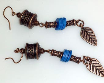 Rustic Southwest Copper Leaf Dangle Earrings with Blue Accents, NE197
