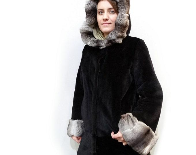 Hooded Sheared Coat,Rex Rabbit Chinchilla Trim F491