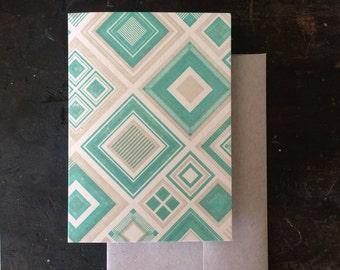 Diamonds Letterpress Notecard - Green & Tan