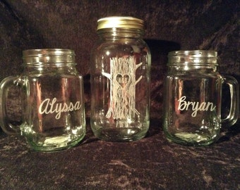 Personalized Mason Jar Wedding Unity Sand or Liquid Set
