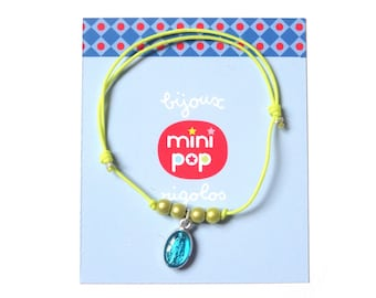 Small medal miraculous neon yellow adjustable bracelet