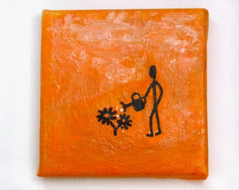 Orange Flower Gardener mini painting, quirky art, small gift, mothers day gift, fun gift, gardening gift, optional mini display easel