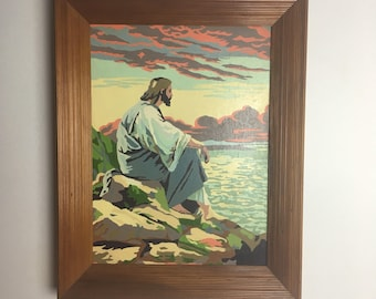 Midcentury Vintage Paint By Number Jesus Kitsch Religious Art Framed  Painting