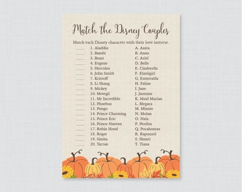 Pumpkin Bridal Shower Disney Couples Match Game - Printable Fall Pumpkin Wedding Shower Famous Couples Match Game - Autumn Bridal 0019