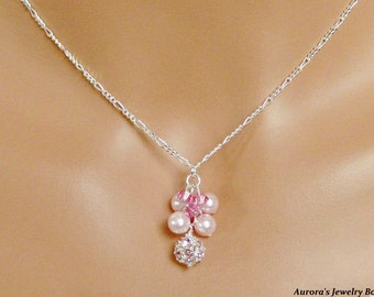 Egyptian Pink Crystal Necklace, Swarovski Crystal Pink Pearls, Beautiful Bridal Necklace, Clustered Pink Pearls
