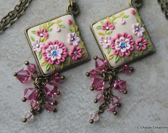 Elegant Polymer Clay Applique Floral Pendant Necklace in Pinks and Beige