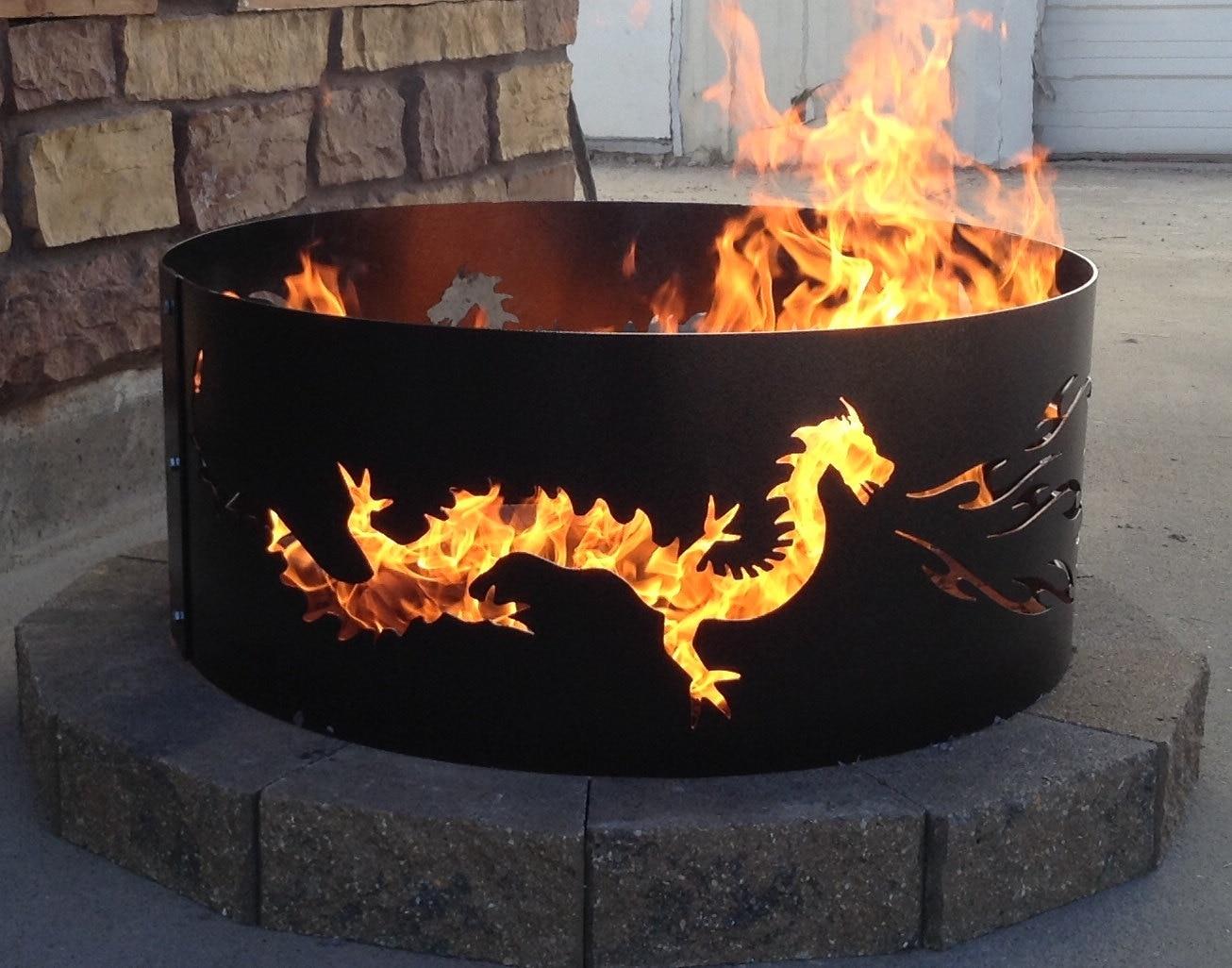 Dragon Fire Pit Metal Metal Art Fire Ring Steel Outdoor