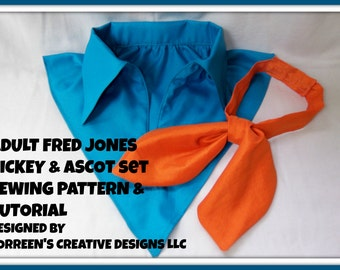 Fred Jones Dickey and Ascot Sewing Pattern Tutorial -  DIY Costume Kit - Scooby Doo Costumes - Family Costume Ideas