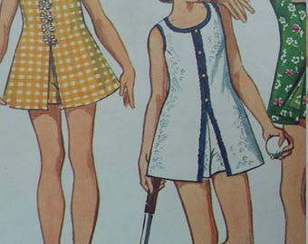 Vintage Simplicity 5708 Sewing Pattern Size 8 Breast 27 Jiffy Minidress and Shorts