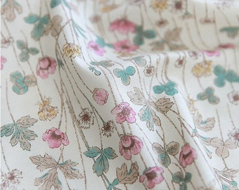 Poppy Cotton Fabric, Pink Flowers Fabric - Pink Ivory - 59 Inches Wide - By the Yard 82209