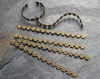 Oxidized Brass Daisy Pattern Malleable Strips Findings 2-7/8 inches long (6)