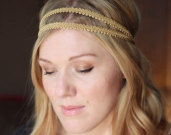 Gold Grecian Elastic Headband, Double Strand Stretch Headband