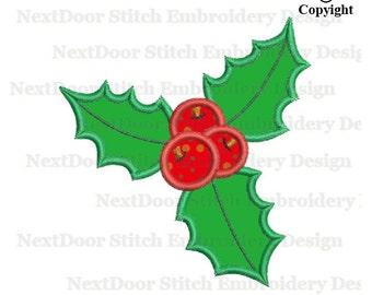Christmas holly embroidery applique design,  xmas leaves, chrs-141