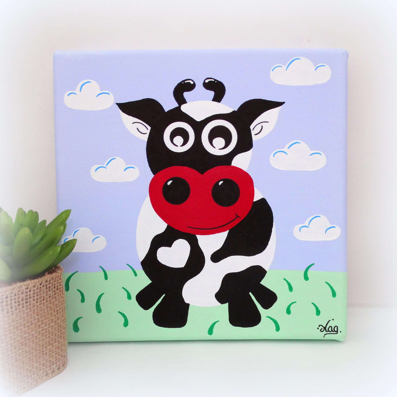 tableau chambre b b peinture vache tableau chambre enfant. Black Bedroom Furniture Sets. Home Design Ideas