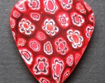 Red and White Millefiori Glass Guitar Pick, Glass Guitar Pick, Floral Guitar Pick