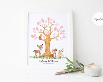 Woodland Guestbook alternative, Fingerprint tree poster, Thumbprint guest book Digital file printable, Baby shower gift, Birthday gift