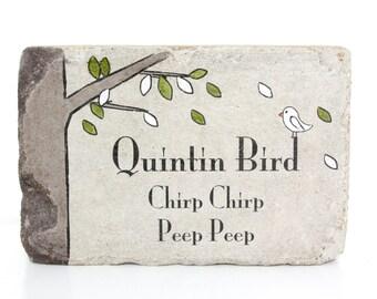 Bird Memorial. Indoor or Outdoor. 6x9 Tumbled Concrete Paver. In memory of Memorial. Custom Bird Memorial. Personalized Bird Sympathy Stone