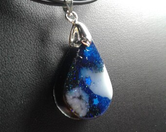 Resin galaxy teardrop charm with necklace