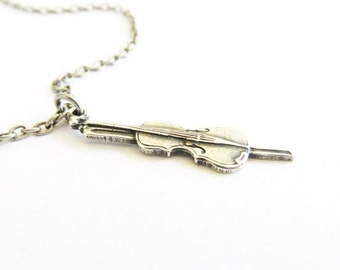 Little Violin Necklace Sterling Silver Ox or Antiqued Brass Ox Finish Small Violin Necklace