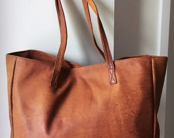 Real Tan Leather Shoulder Tote.Handmade, Traditional and classic, genuine leather tote shoulder bag with dual straps,generous size shopper.