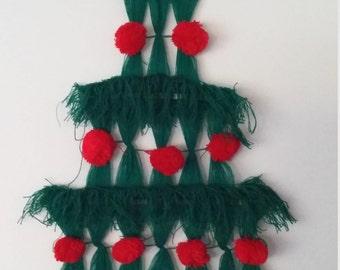 Christmas tree wall hanging, 60's Christmas, handmade Christmas, vintage Christmas wall decor