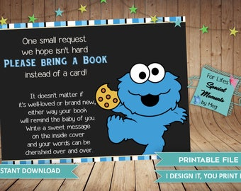 Cookie Monster Book Request Tickets Instant Download- Made to Match Cookie Monster Baby Shower Invitation- Sesame Street