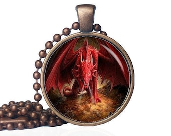 necklace dragon cafepress circle jewelry charm red