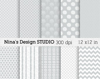 50% SALE INSTANT DOWNLOAD 10 Gray Digital paper pack  for Personal and Commercial use Scrapbooking