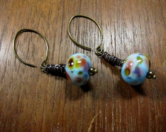 Powder Blue Lampwork Earring, Spiny Oyster, Multicolor Glass Beads