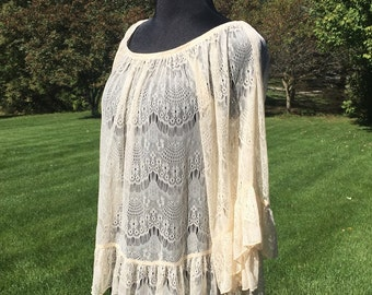Vintage 70s Ivory Sheer Lace Blouse