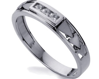 Men 14K White Gold CZ Three Stone Wedding Band Ring / Free Gift Box(ATR418WW)