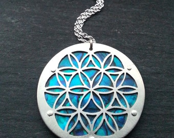 Flower of Life pendant - Blue or Green - Handcrafted Sacred Geometry Jewellery