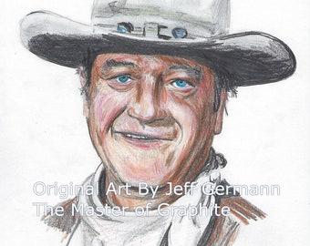 Original Color Pencil Drawing of John Wayne, The Duke