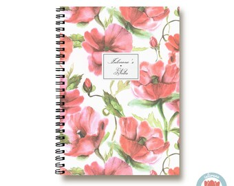 Custom Notebook Colorful Red Flowers  Bullet Journal Notebook Planner Sketchbook Spiral Notebook Schrift Recipe Book  1N