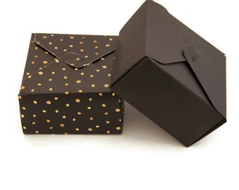 Set of 6 - Black gold gift box - gold polka dots - black gift box - jewelry box - square box