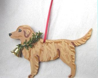 Hand-Painted GOLDEN RETRIEVER MEDIUM Color Wood Christmas Ornament...Artist Original, Christmas Tree Ornament Decoration