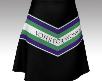 Suffragette skater skirt votes for women feminist fitted black mini size xs s m l xl protest purple green history march sash style unique