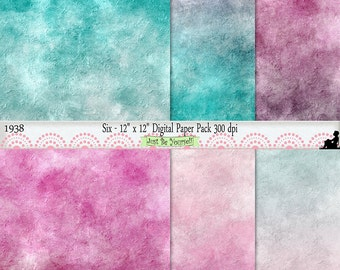 """12 x 12"""" Distressed Pink and Blue Painted Scrapbook Background Papers Instant Download Set of 6 Digital Prints JPEG Commercial Use 1938"""