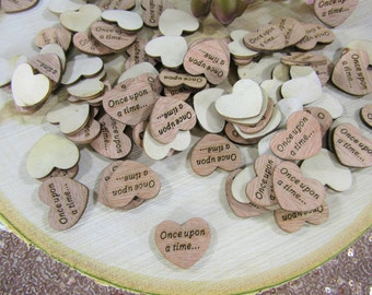 "100 ""Once Upon a Time"" Hearts ~ 1"" Wood Hearts ~ Wedding Decor ~ Wedding Confetti ~ Wooden Confetti ~ Wedding Invitations ~ Summer Wedding"