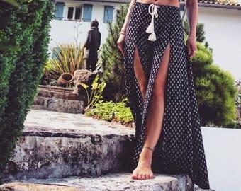 Split summer baggy pants - Black arrow