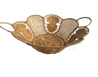 Vintage Woven Raffia Lace Wire Basket with Handles / Made in Italy / Italian Basket / Teneriffe / Caning
