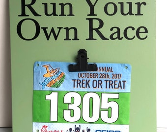 Running Medal Holder Race Bib Display, Run Your Own Race, Ready to Ship