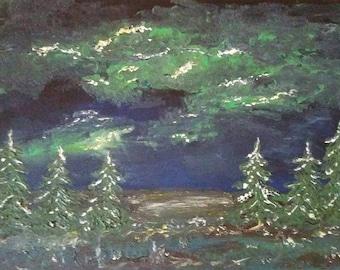 landscape night lights aurora polarlights original oil painting