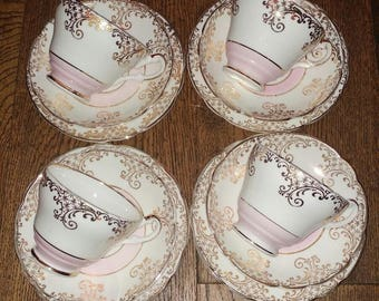Vintage Regency Baby Pale Pastel Pink China Part Tea Set Trios Cups Saucers Plates White Gold Harlequin Party Wedding Gift