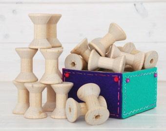 Wooden Spools - 6 Medium Wood Spools - Unfinished -1-15/16th x 1-3/8th  - Medium Wood Spools - Wood Spools for Twine